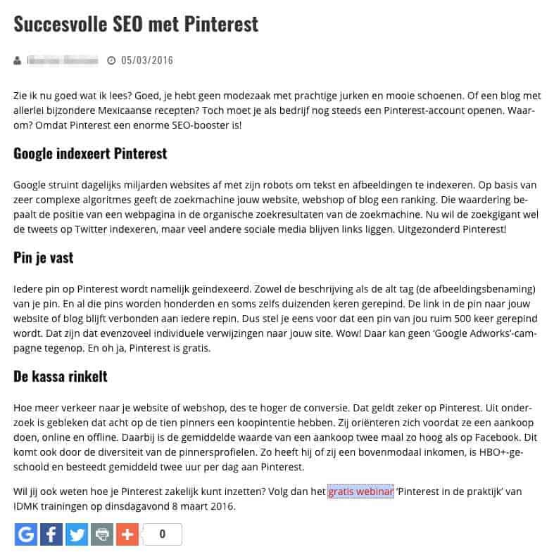 Artikel over Succesvolle SEO met Pinterest - zonder uitleg hoe