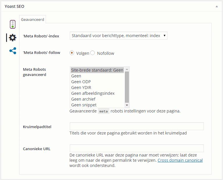 Het tabblad Geavanceerd in de Yoast SEO plugin 3.X