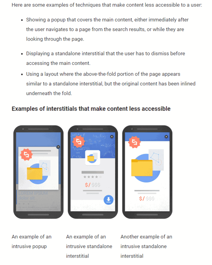 Uitleg en voorbeelden van Google over intrusive interstituals; overlays over je webpagina