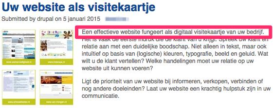 """""""Een effectieve website fungeert als digitaal visitekaartje van uw bedrijf"""" volgens de website van een websitebouwer."""