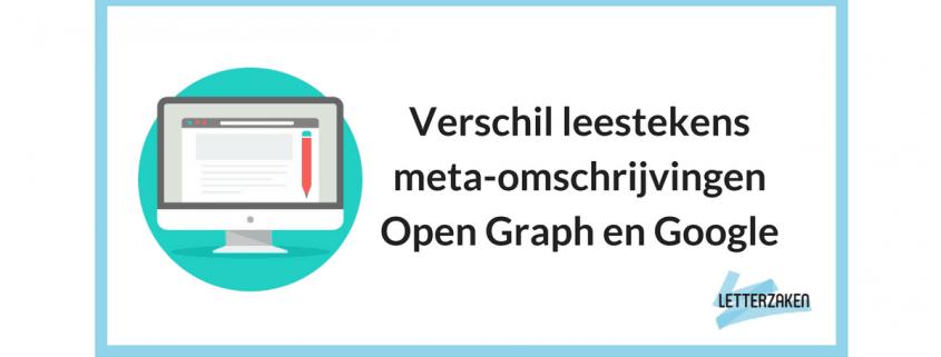 Verschil leestekens meta-omschrijvingen Open Graph en Google