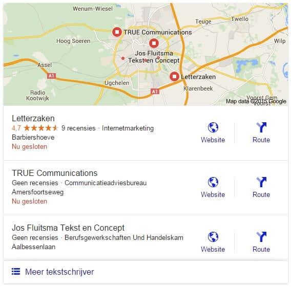"""Google-reviews worden enkel nog als """"recensies"""" weergegeven in de zoekresultaten"""