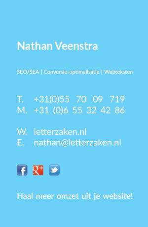 Voorkant van het visitekaartje van Letterzaken (2015).
