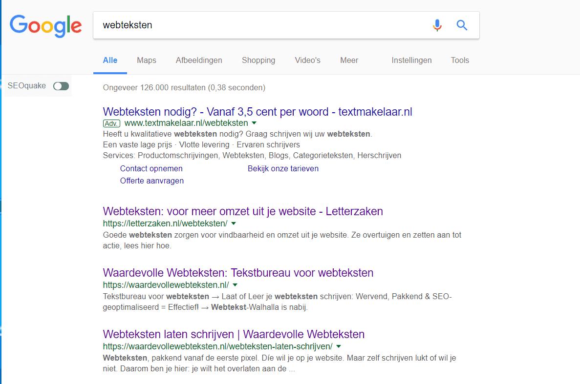 Waardevollewebteksten.nl staat op nummer 2 in Google voor webteksten