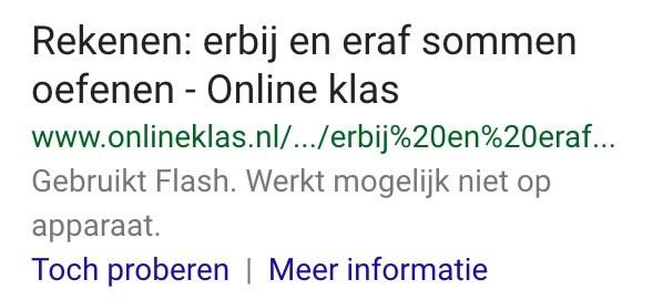 Waarschuwing van Google: website werkt niet op apparaat vanwege Flash