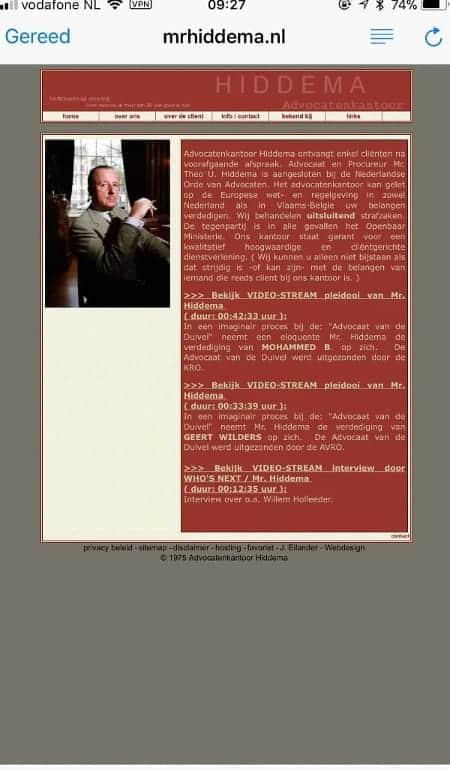 Niet-mobielvriendelijke website mr. Theo Hiddema