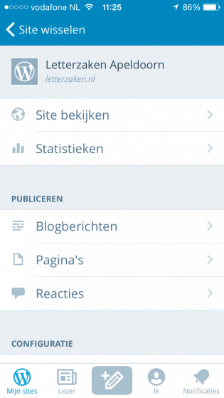 WordPress iOS app - blogs dicteren
