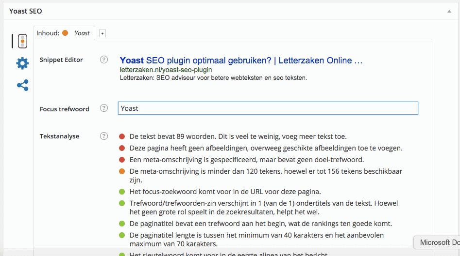 Screenshot Yoast SEO plugin na invoeren enkel eerste alinea