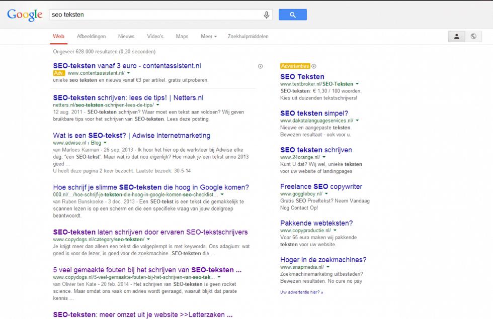 Zoekresultaat Google op SEO-teksten juli 2014