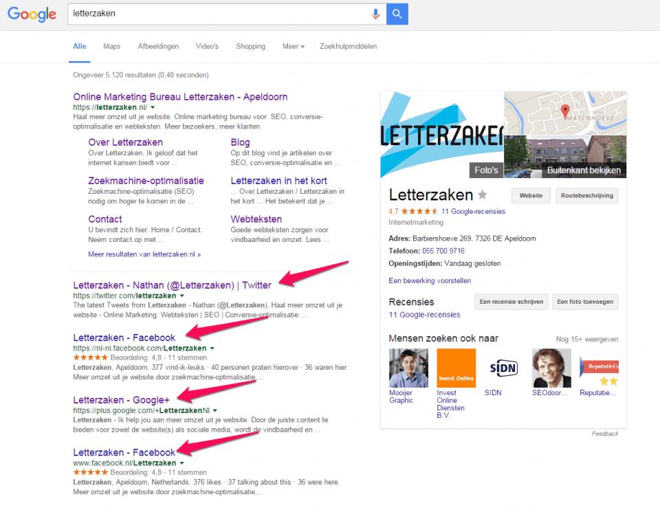 Top 10 in Google voor zoekterm Letterzaken met daarin sociale media, waarvan 2x Facebook.