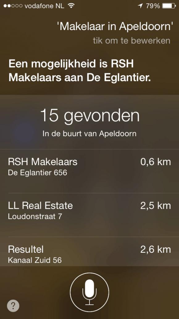 Makelaar in Apeldoorn geeft dit resultaat in Siri