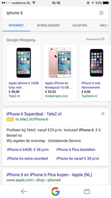 Zoekresultaten iPhone Google mobiel met PLA-Google Shopping - februari 2016