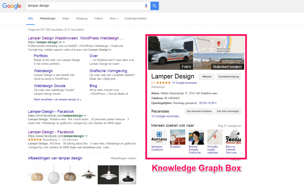 Zoekresultatenpagina Knowledge Graph Box Lamper Design