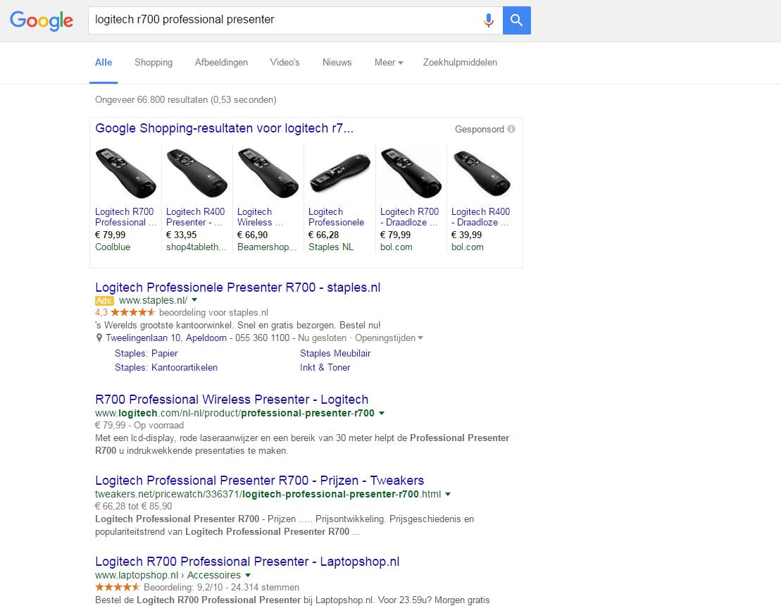 SERP/zoekresultatenpagina voor zoekopdracht logitech r700 professional presenter