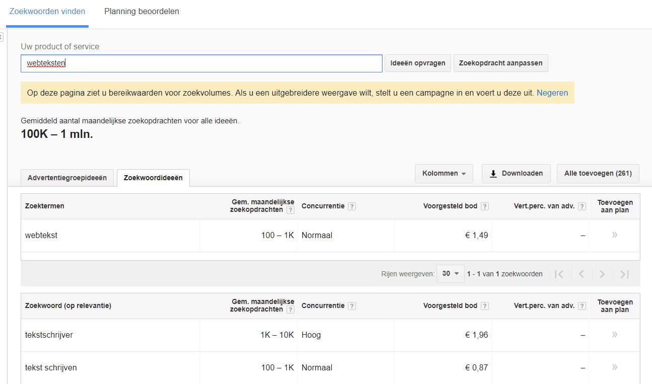 Zoekwoordplanner geeft wel resultaat voor webtekst, niet voor webteksten