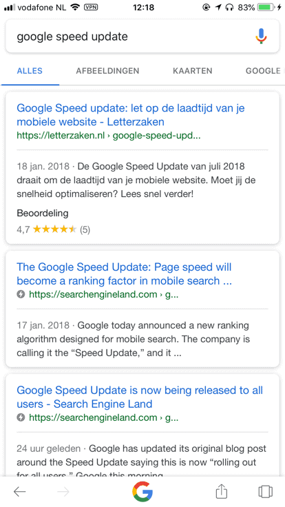 Voorbeeld van AMP in de zoekresultaten van Google