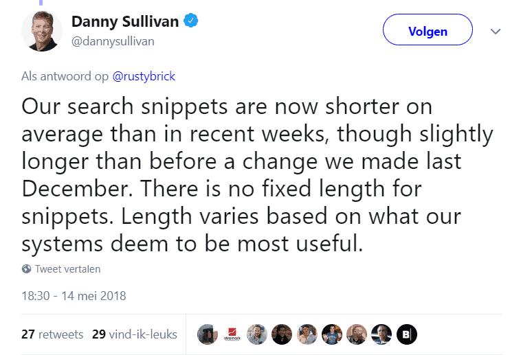 Antwoord van Danny Sullivan met bevestiging kortere snippets in de zoekresultaten
