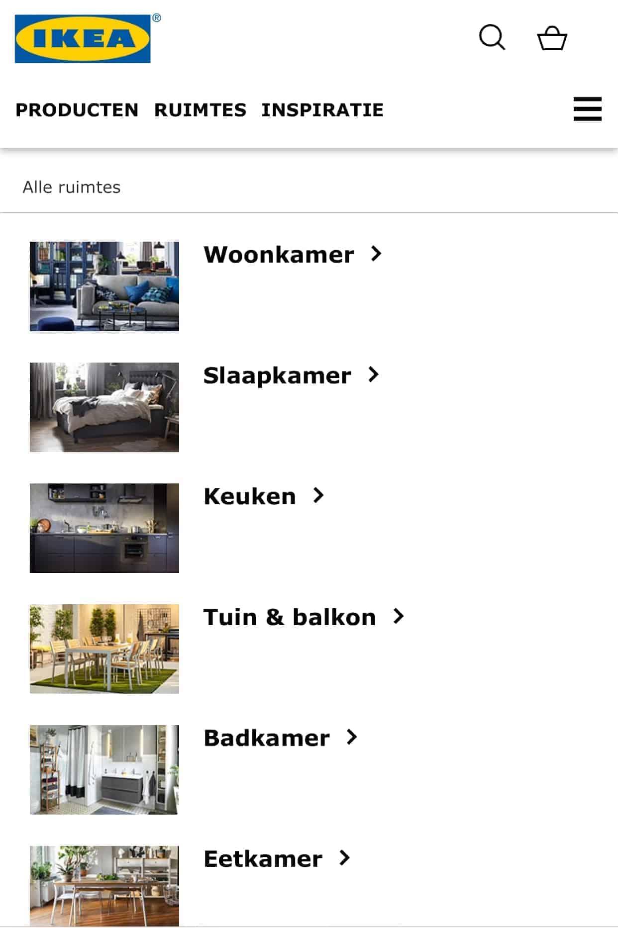 IKEA maakt gebruik van een apart mobiel domein voor de mobiele versie van de website