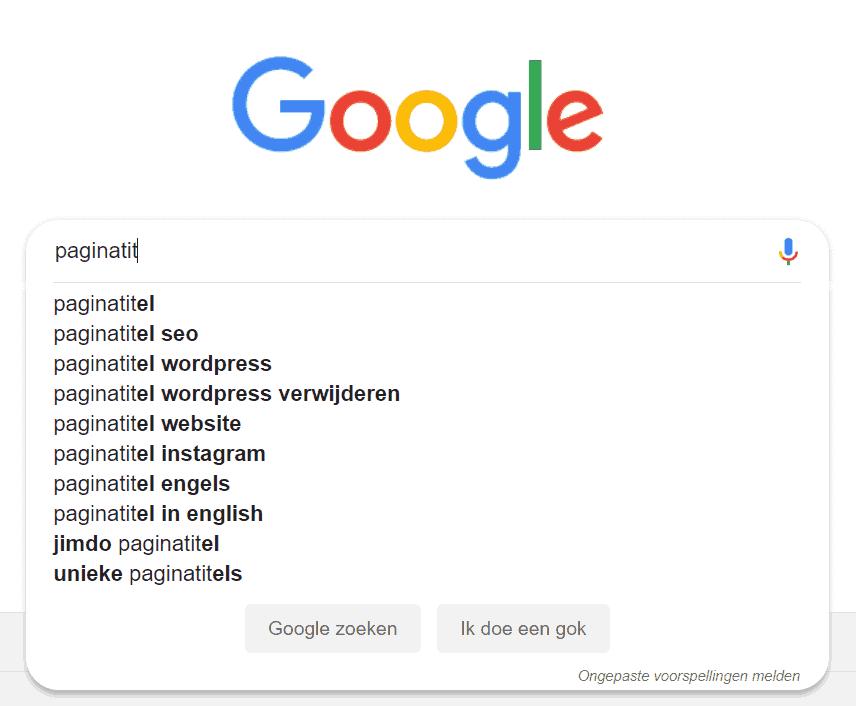 Google geeft suggesties voor 'paginatitel', maar zijn dit populaire zoekopdrachten?