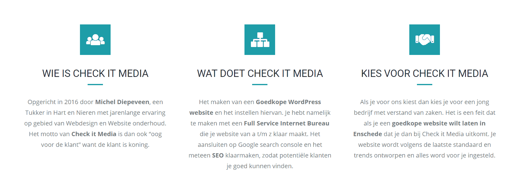 Blokken waarin vooral Check It Media centraal staat
