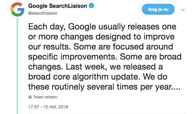 Google Search Liaison bevestigt op Twitter dagelijks wijzigingen te doen