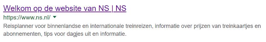 Welkom op de website van de NS als paginatitel? Waarom?