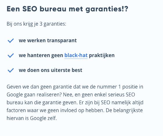 Internetbureau Heers geeft 3 realistische SEO-garanties.