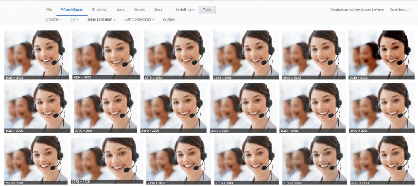 Een telefoniste met headset die op vele websites te vinden is.