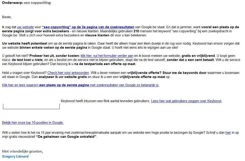 Volgens SEO-bedrijf iPower helpt hun dienst Keyboost om hoger te komen voor 'SEO copywriter' in google.be, maar wat als je België niet als verzorgingsgebied hebt?