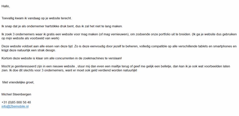 Eerste, onpersoonlijke e-mail van NS Marketing & Sales