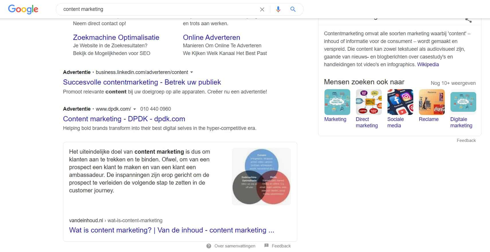 Featured snippet en kenniskaart in Google zoekresultaten bij zoekopdracht 'content marketing'.