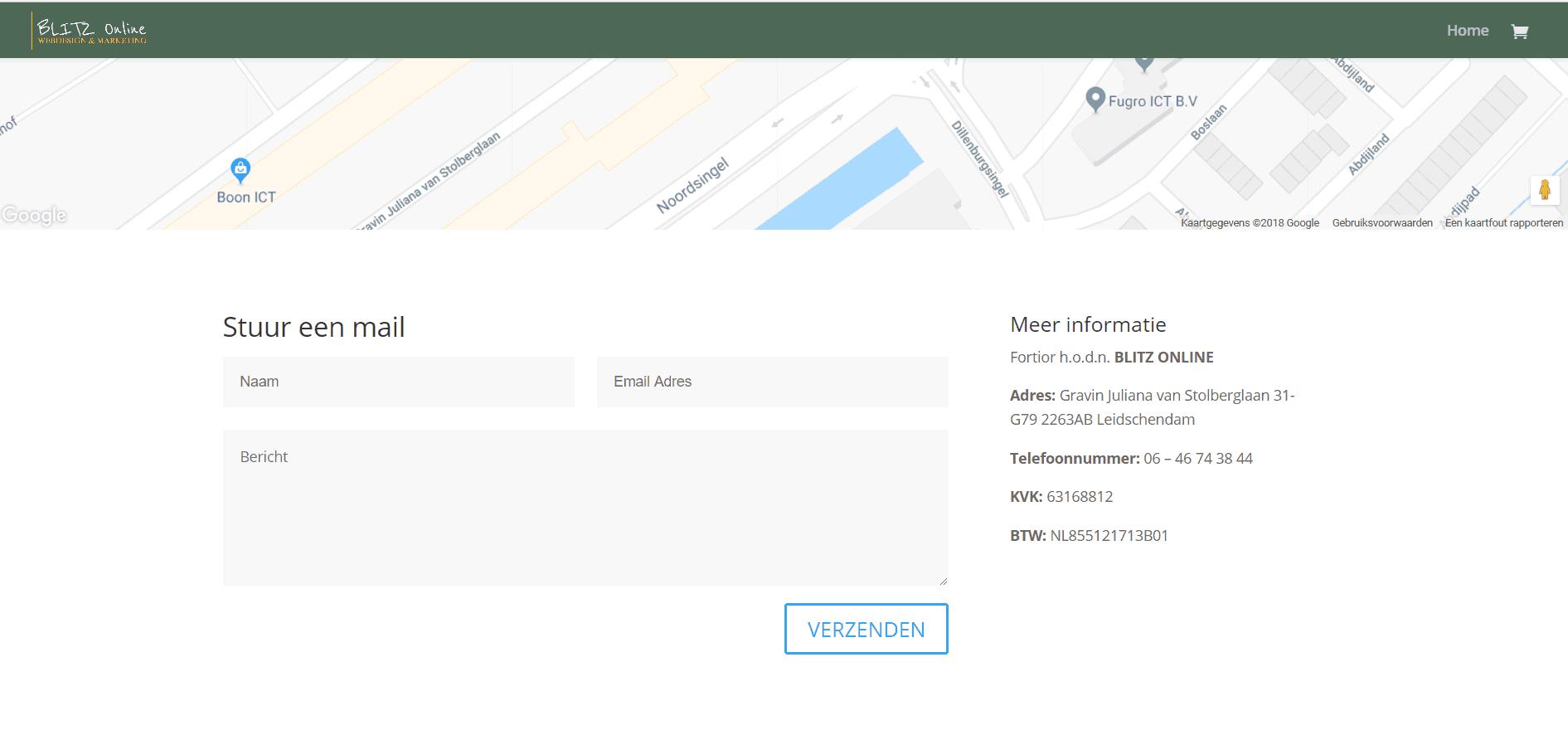 Fortior handelend onder de naam Blitz Online zelfde adres als Zusy Web Services in Leidschendam