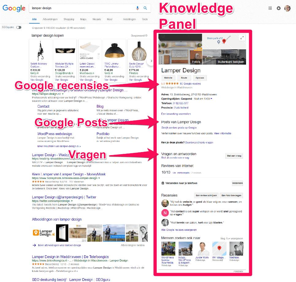 Google Knowledge Panel voor Lamper Design - mogelijk gemaakt door goed beheer van Google Mijn Bedrijf