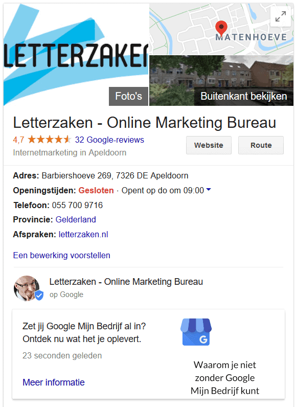 Google Post in de zoekresultaten