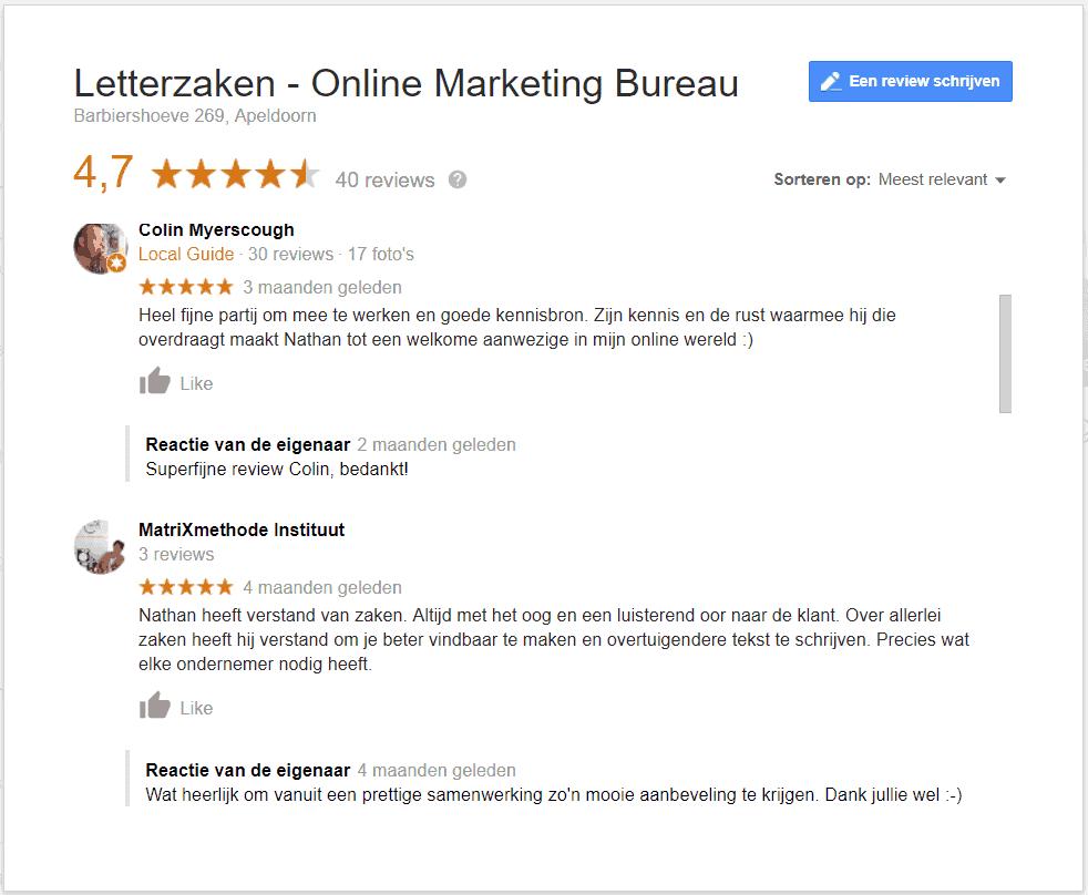 Positieve Google reviews met daarbij reacties van de eigenaar
