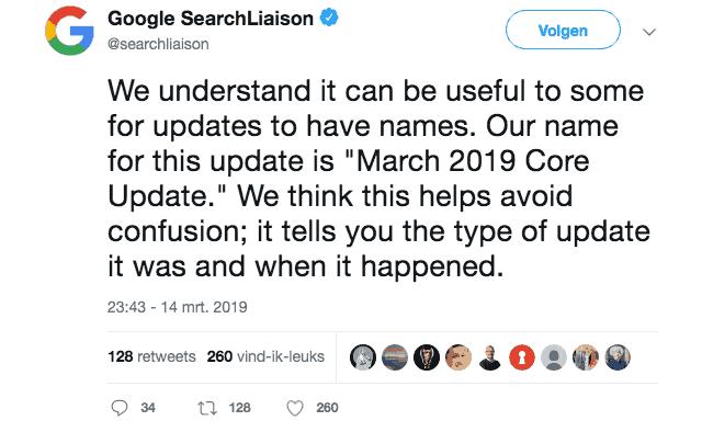 Google Search Liaison op Twitter: we noem het de March 2019 Core Update