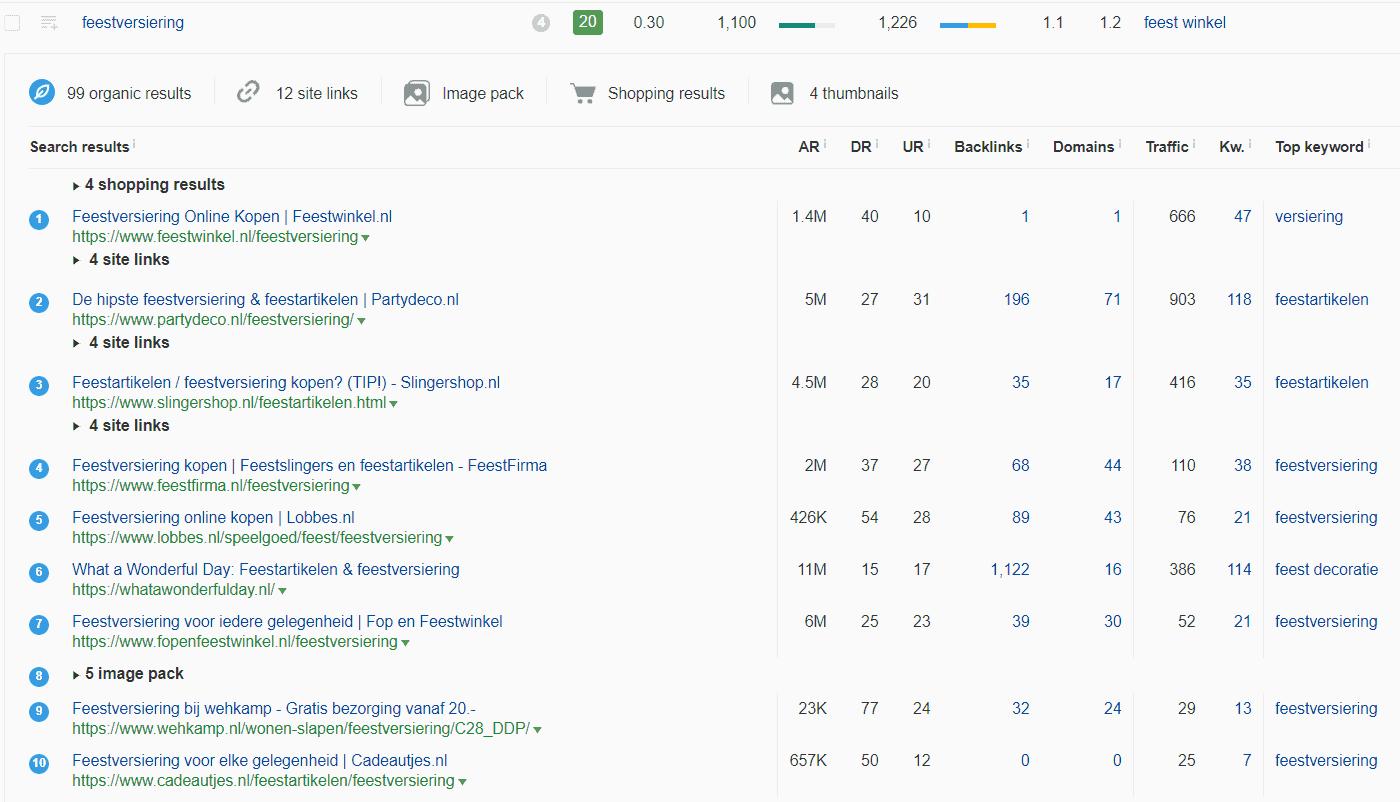 Top 10 in Google voor zoekterm feestversiering: alleen maar webshops