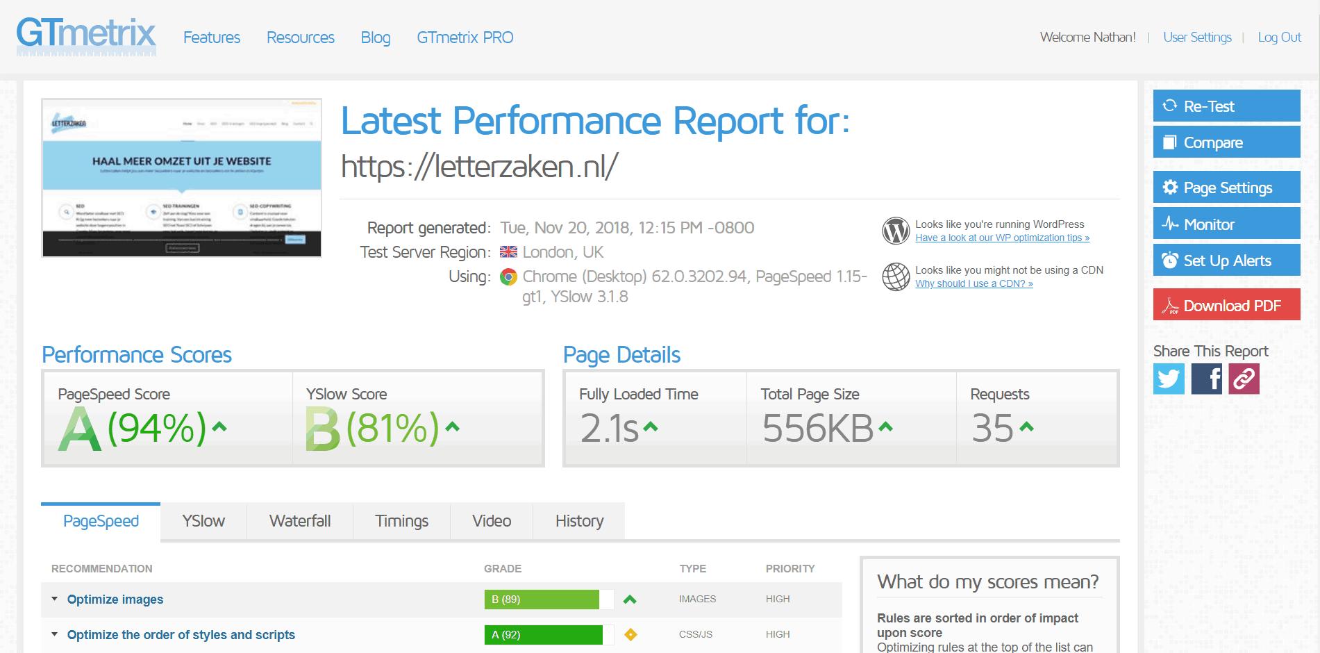 GTMetrix is mijn favoriete tool om de laadtijd te testen