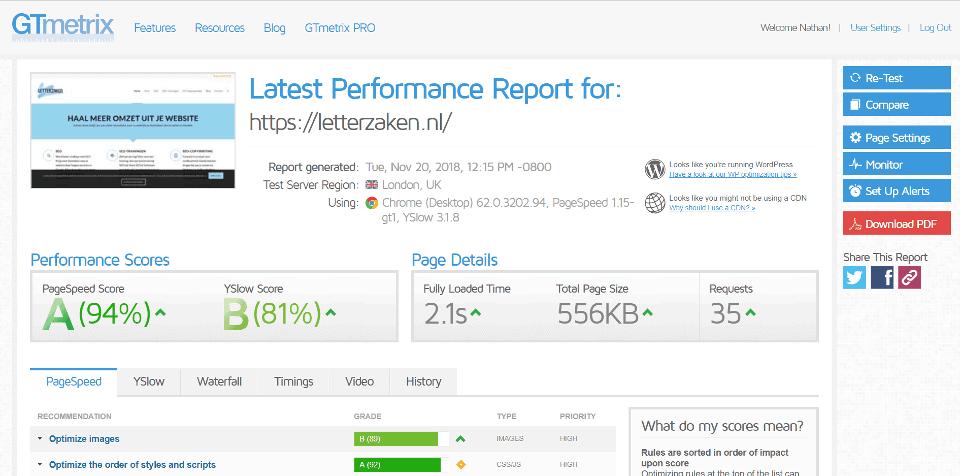 Met GTmetrix meet je de snelheid van je webpagina's