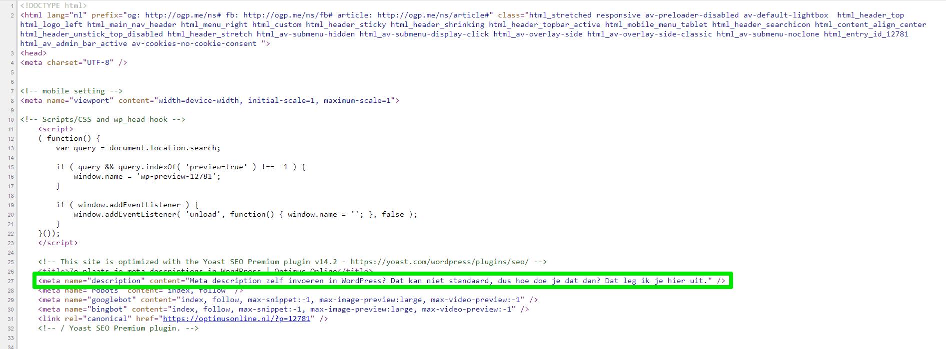 """Hier zie je de head-sectie van een webpagina met daarin de metatag meta name=""""descrption""""."""