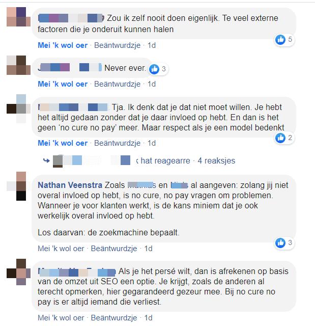 Reacties van verschillende SEO-specialisten op no cure, no pay SEO.
