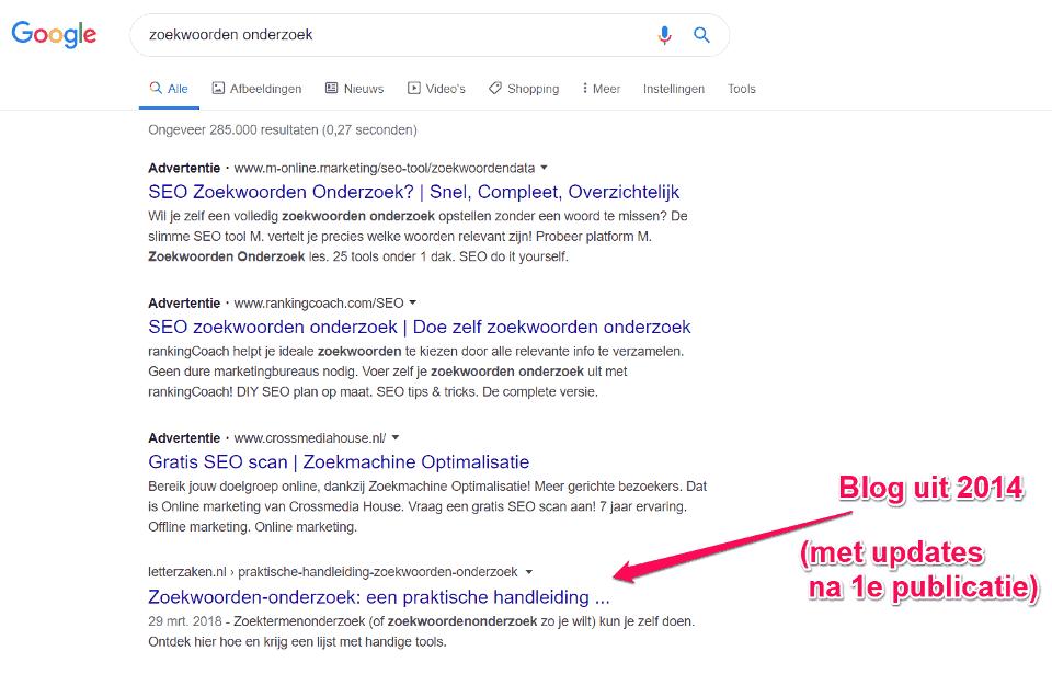 Op positie 1 in Google op de zoekterm 'zoekwoorden onderzoek' met een relevant blog.