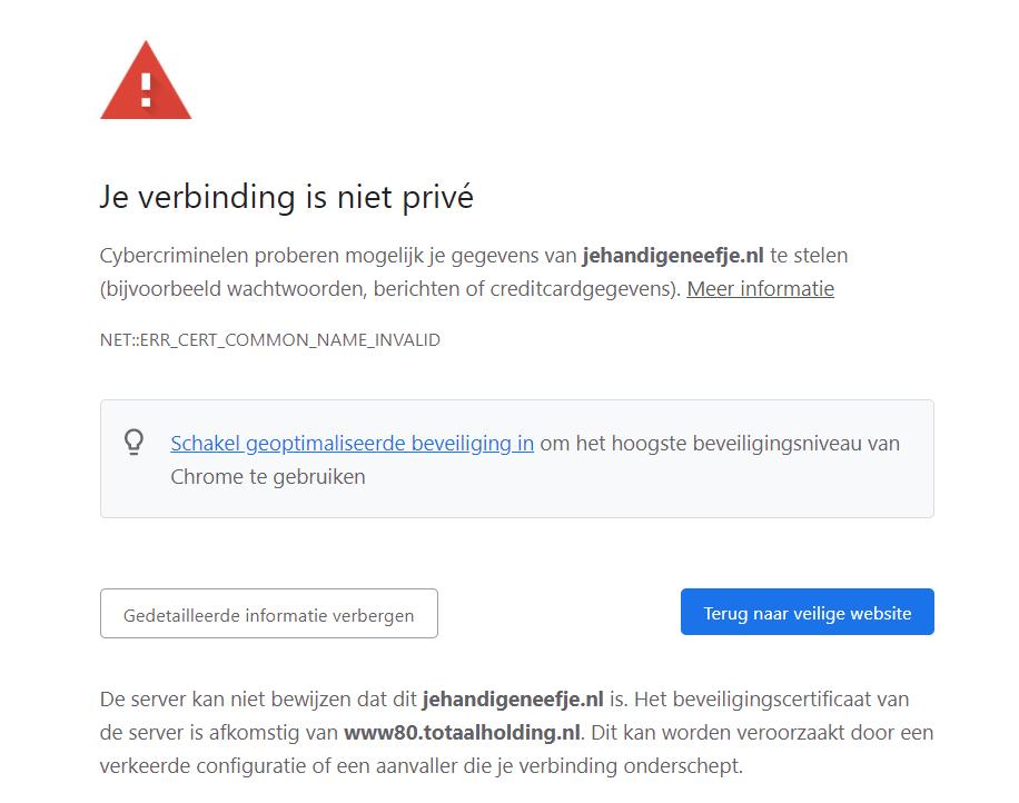 Website van Je Handige Neefje geeft foutmelding vanwege fout met HTTPS-verbinding. Niet zo handig.