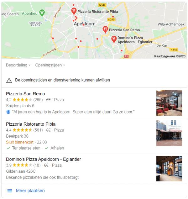 Pizzeria's in de Local Pack, waarbij San Remo 265 recensies heeft en een gemiddelde van 4,2 sterren; Pibia 4,4 sterren uit 581 recensies en Domino's 18 recensies met een gemiddelde van 3,9 sterren. Welke zou jij kiezen