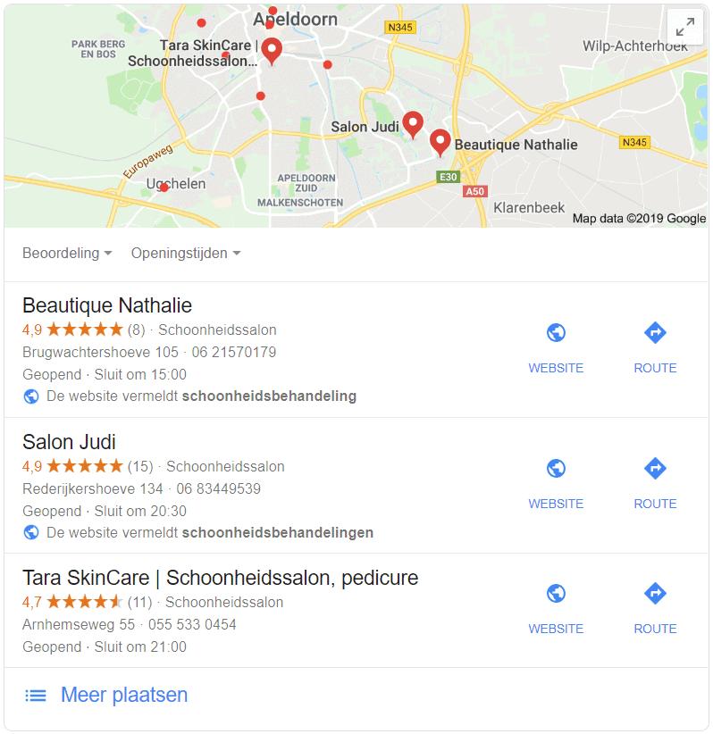 Local Pack bij zoekresultaat voor schoonheidsbehandeling in Apeldoorn met schoonheidssalons in de directe omgeving