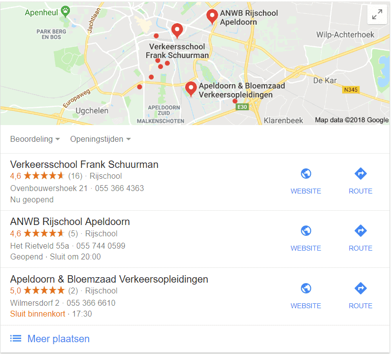 Google Local Pack voor rijschool Apeldoorn