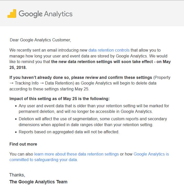 Mail waarin Google Analytics aangeeft dat je voor 25 mei 2018 de keuze moet maken voor de bewaarperiode van je data