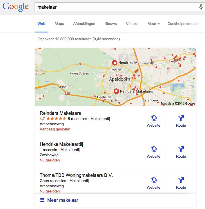 Lokale zoekresultaten voor makelaar - locatie Apeldoorn - augustus 2015