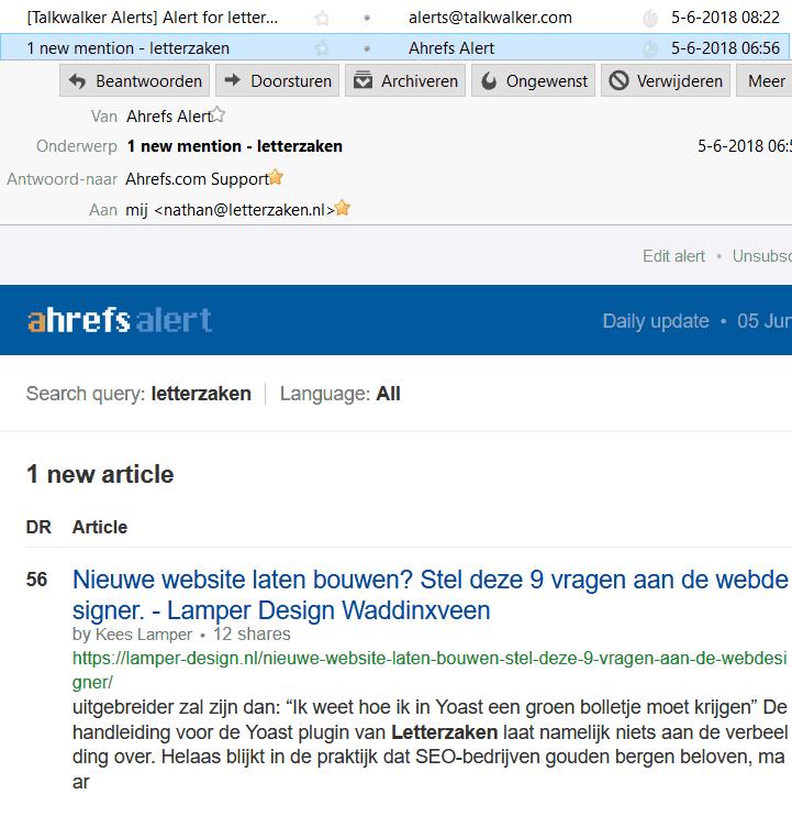 Mails van Ahrefs en Talkwalker met melding van webmentions in mijn inbox