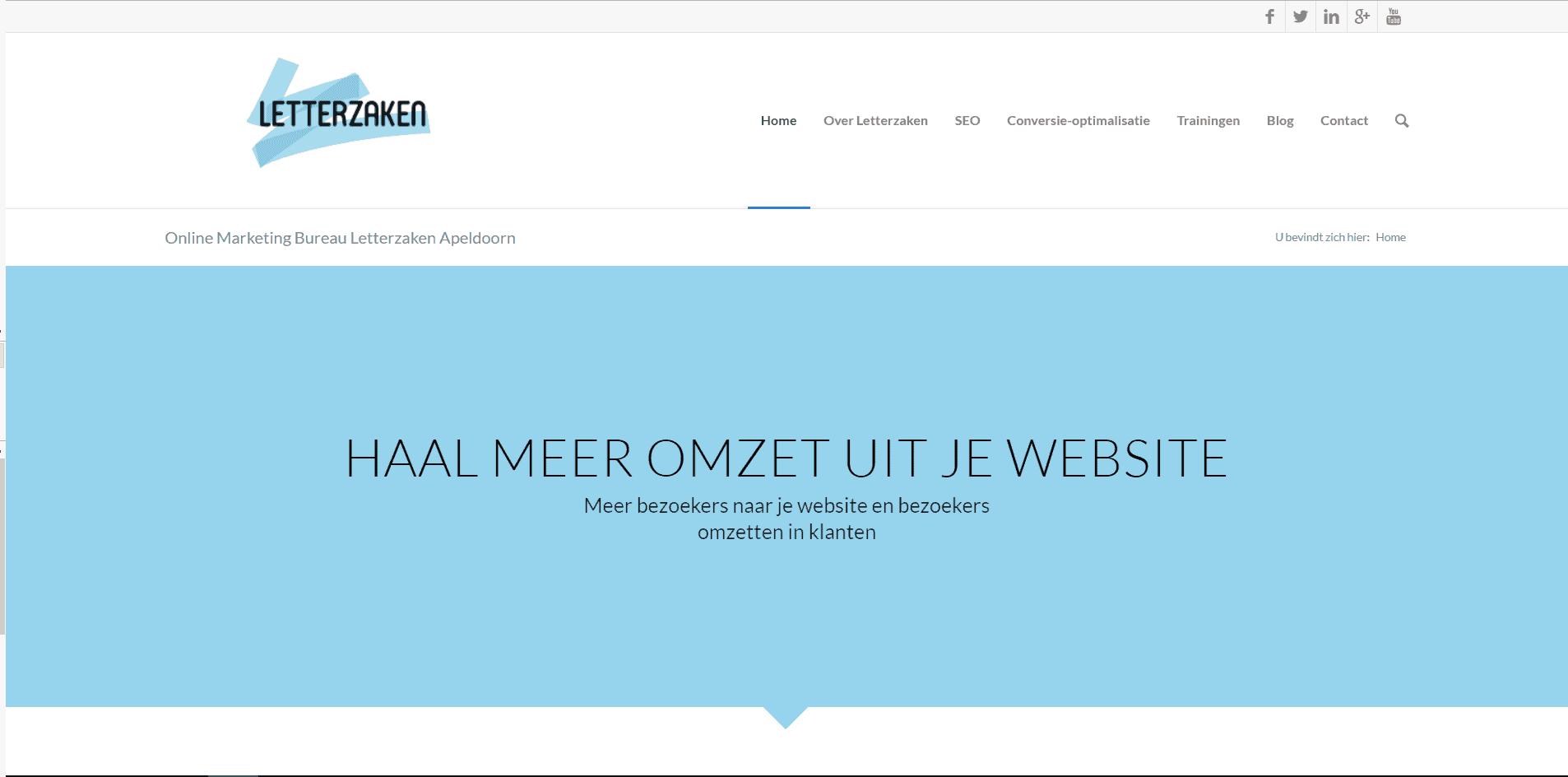 Homepagina mooi vormgegeven, maar niet effectief voor de bezoeker